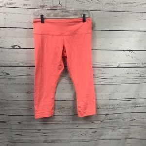 Lululemon coral stripped workout capris
